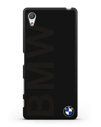 Чехол с надписью BMW и логотипом силикон черный для Sony Xperia X