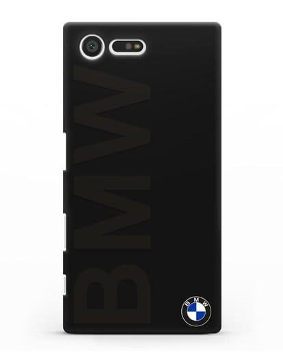 Чехол с надписью BMW и логотипом силикон черный для Sony Xperia X Compact