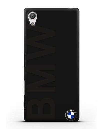 Чехол с надписью BMW и логотипом силикон черный для Sony Xperia X Performance