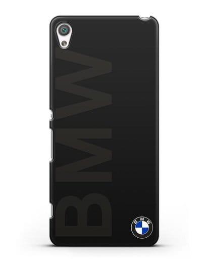 Чехол с надписью BMW и логотипом силикон черный для Sony Xperia XA