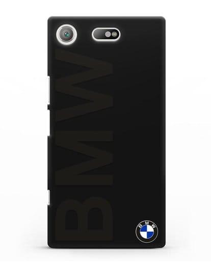 Чехол с надписью BMW и логотипом силикон черный для Sony Xperia XZ1 Compact