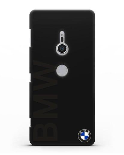 Чехол с надписью BMW и логотипом силикон черный для Sony Xperia XZ2