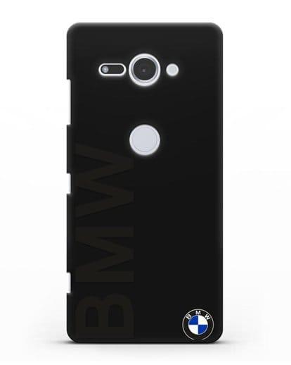 Чехол с надписью BMW и логотипом силикон черный для Sony Xperia XZ2 Compact