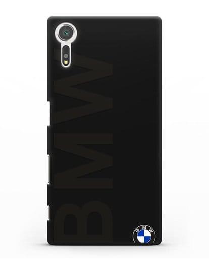 Чехол с надписью BMW и логотипом силикон черный для Sony Xperia XZ
