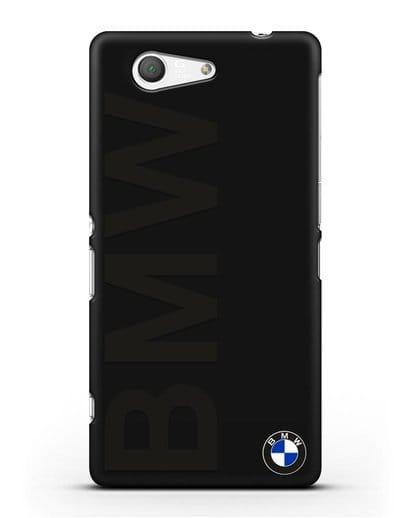 Чехол с надписью BMW и логотипом силикон черный для Sony Xperia Z3 Compact