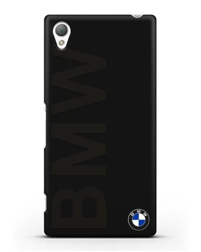 Чехол с надписью BMW и логотипом силикон черный для Sony Xperia Z5