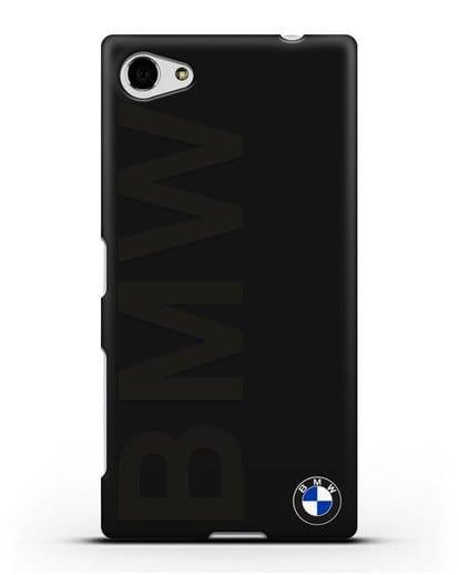 Чехол с надписью BMW и логотипом силикон черный для Sony Xperia Z5 Compact