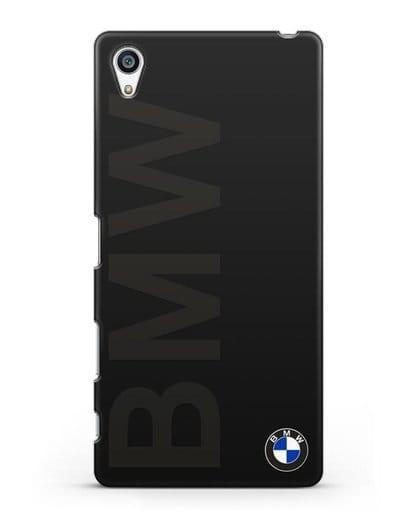 Чехол с надписью BMW и логотипом силикон черный для Sony Xperia Z5 Premium