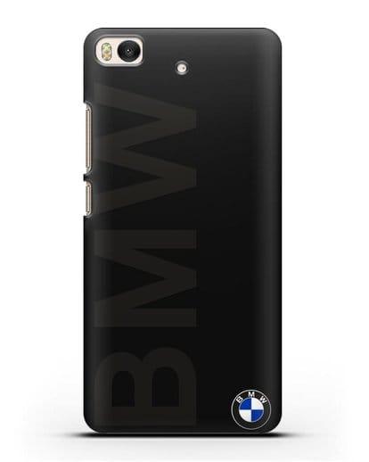 Чехол с надписью BMW и логотипом силикон черный для Xiaomi Mi 5S