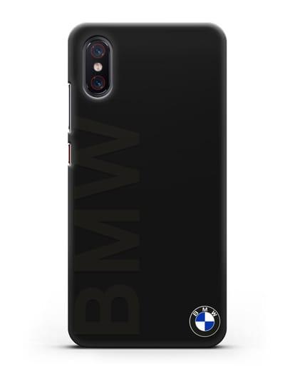 Чехол с надписью BMW и логотипом силикон черный для Xiaomi Mi 8 Pro