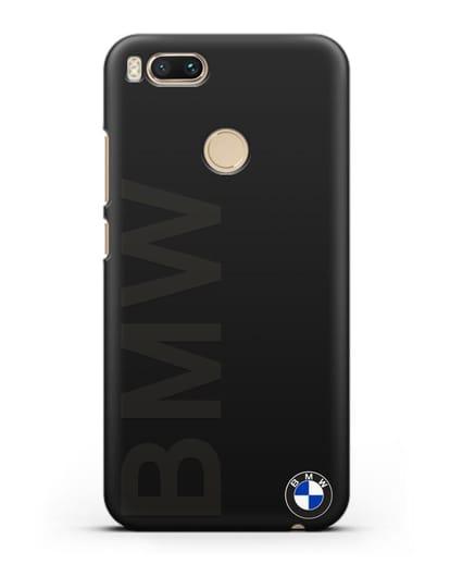 Чехол с надписью BMW и логотипом силикон черный для Xiaomi Mi A1