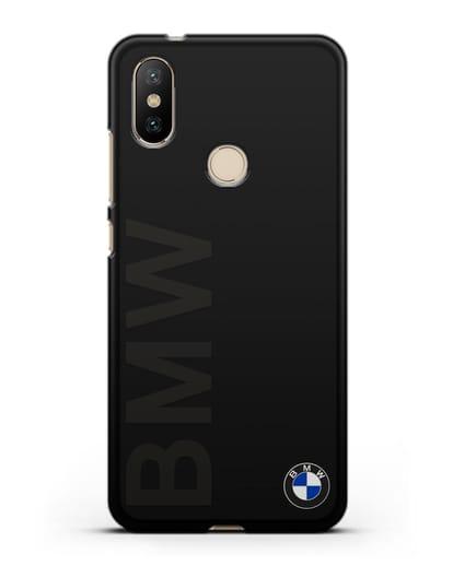 Чехол с надписью BMW и логотипом силикон черный для Xiaomi Mi A2