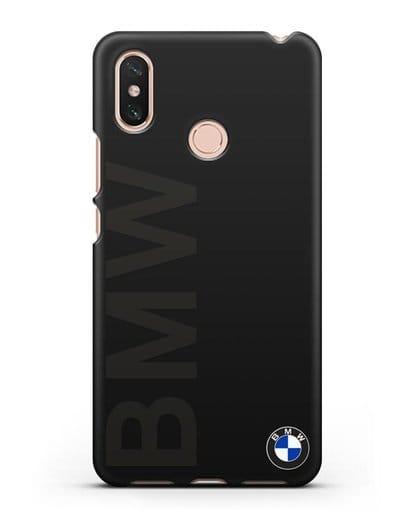 Чехол с надписью BMW и логотипом силикон черный для Xiaomi Mi Max 3