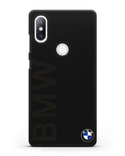 Чехол с надписью BMW и логотипом силикон черный для Xiaomi Mi Mix 2S