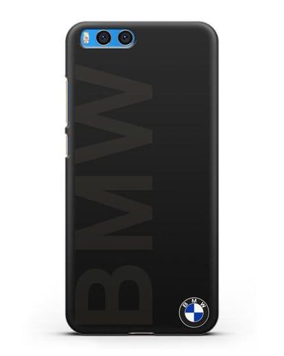 Чехол с надписью BMW и логотипом силикон черный для Xiaomi Mi Note 3