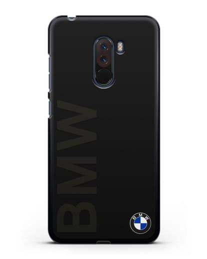 Чехол с надписью BMW и логотипом силикон черный для Xiaomi Pocophone F1