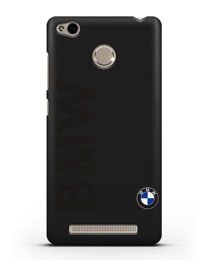Чехол с надписью BMW и логотипом силикон черный для Xiaomi Redmi 3 Pro