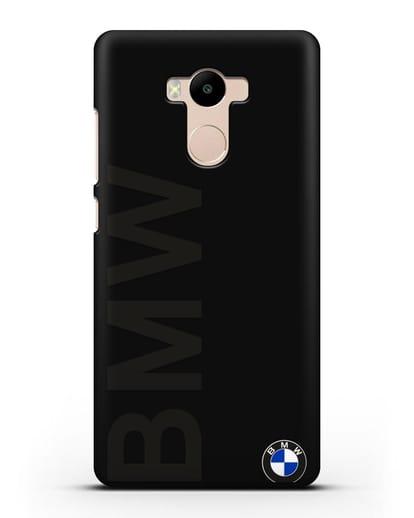 Чехол с надписью BMW и логотипом силикон черный для Xiaomi Redmi 4 Pro