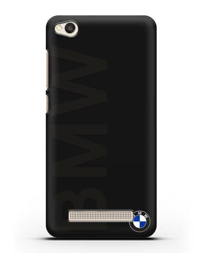 Чехол с надписью BMW и логотипом силикон черный для Xiaomi Redmi 4A