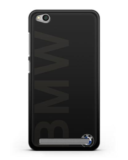 Чехол с надписью BMW и логотипом силикон черный для Xiaomi Redmi 5A