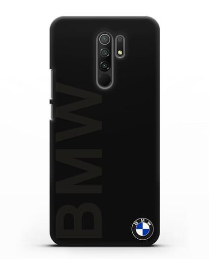Чехол с надписью BMW и логотипом силикон черный для Xiaomi Redmi 9