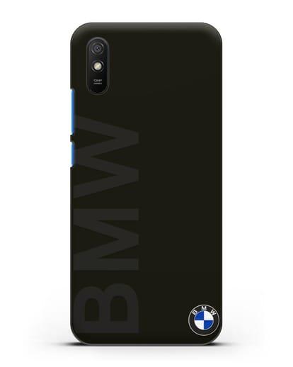 Чехол с надписью BMW и логотипом силикон черный для Xiaomi Redmi 9A