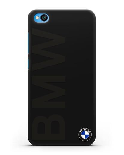 Чехол с надписью BMW и логотипом силикон черный для Xiaomi Redmi Go