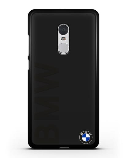 Чехол с надписью BMW и логотипом силикон черный для Xiaomi Redmi Note 4X