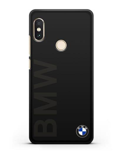 Чехол с надписью BMW и логотипом силикон черный для Xiaomi Redmi Note 5