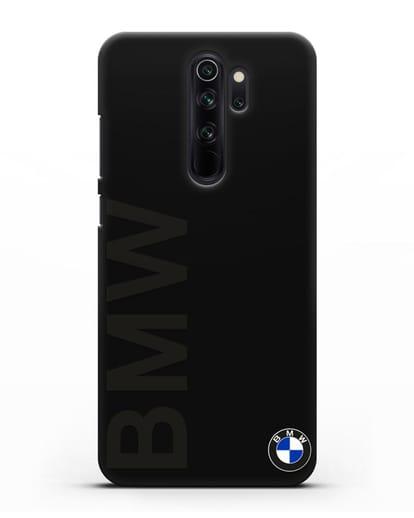 Чехол с надписью BMW и логотипом силикон черный для Xiaomi Redmi Note 8 Pro