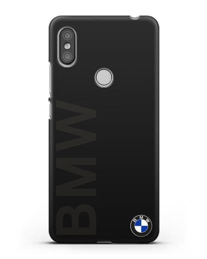 Чехол с надписью BMW и логотипом силикон черный для Xiaomi Redmi S2