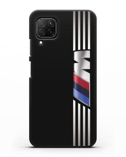 Чехол с символикой BMW M серия силикон черный для Huawei Nova 7i