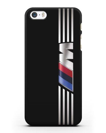 Чехол с символикой BMW M серия силикон черный для iPhone 5/5s/SE