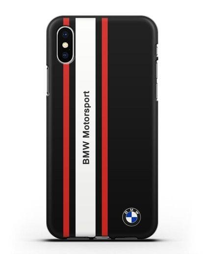 Чехол BMW Motorsport силикон черный для iPhone XS