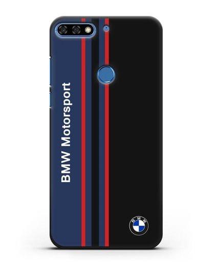 Чехол с надписью BMW Motorsport силикон черный для Honor 7C Pro