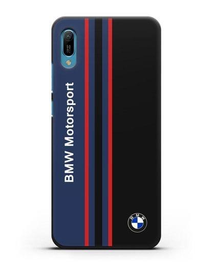 Чехол с надписью BMW Motorsport силикон черный для Huawei Y6 2019