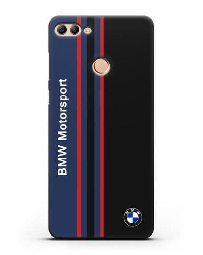 Чехол с надписью BMW Motorsport силикон черный для Huawei Y9 2018