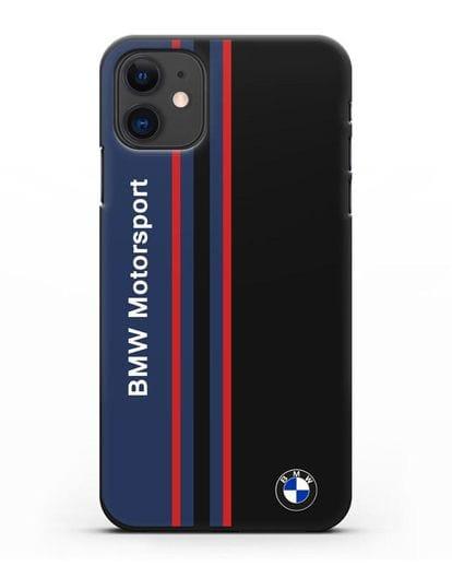 Чехол с надписью BMW Motorsport силикон черный для iPhone 11