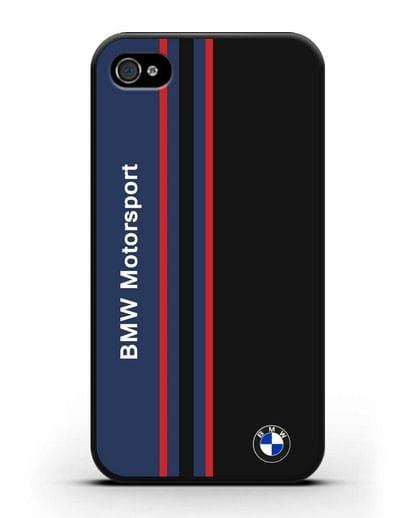 Чехол с надписью BMW Motorsport силикон черный для iPhone 4/4s