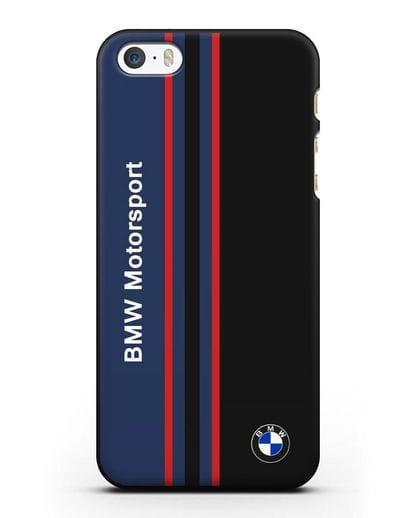Чехол с надписью BMW Motorsport силикон черный для iPhone 5/5s/SE