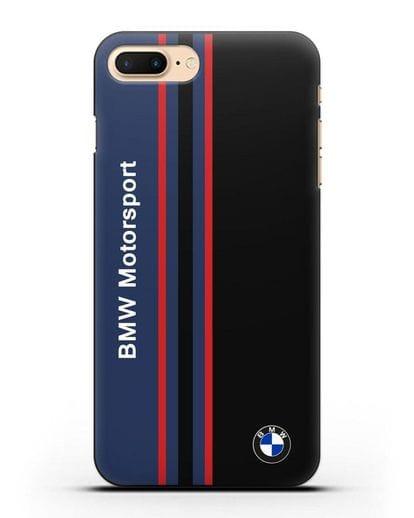 Чехол с надписью BMW Motorsport силикон черный для iPhone 8 Plus