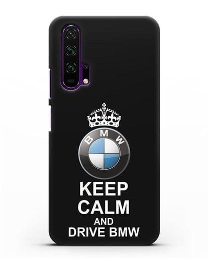 Чехол с надписью Keep Calm and Drive BMW силикон черный для Honor 20 Pro