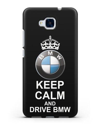 Чехол с надписью Keep Calm and Drive BMW силикон черный для Honor 5C