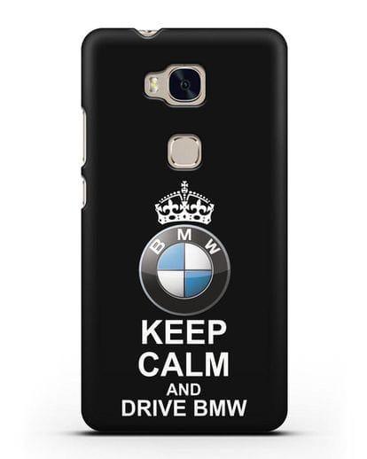 Чехол с надписью Keep Calm and Drive BMW силикон черный для Honor 5X