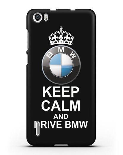 Чехол с надписью Keep Calm and Drive BMW силикон черный для Honor 6