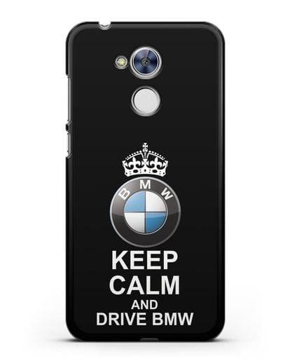 Чехол с надписью Keep Calm and Drive BMW силикон черный для Honor 6A