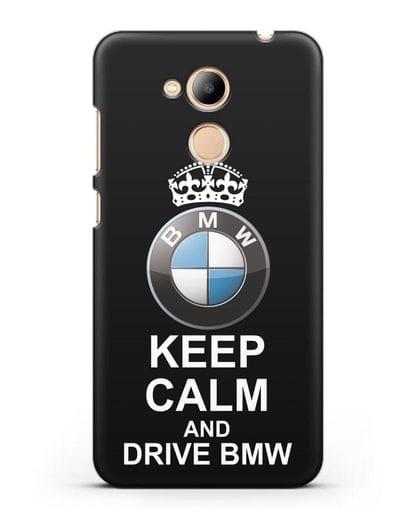 Чехол с надписью Keep Calm and Drive BMW силикон черный для Honor 6C Pro