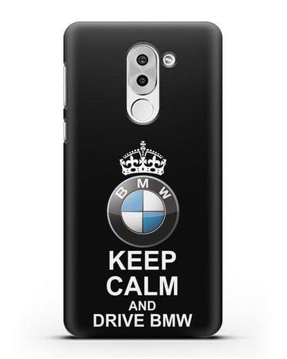 Чехол с надписью Keep Calm and Drive BMW силикон черный для Honor 6X