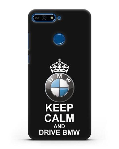 Чехол с надписью Keep Calm and Drive BMW силикон черный для Honor 7А Pro