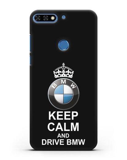 Чехол с надписью Keep Calm and Drive BMW силикон черный для Honor 7C Pro